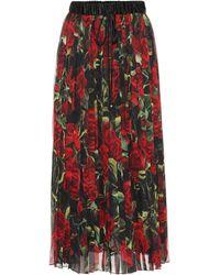 Dolce & Gabbana - Floral Pleated Silk-blend Skirt - Lyst