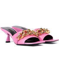 Versace Medusa Chain Patent Leather Sandals - Multicolor