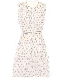 Chloé Bedrucktes Minikleid aus Seide - Weiß