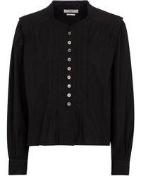 Étoile Isabel Marant Blusa Okina de popelín de algodón - Negro