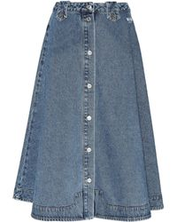 MSGM - Denim Midi Skirt - Lyst