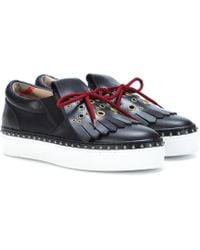 Burberry - Embellished Leather Trainers - Lyst