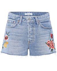 GRLFRND | Cindy Embroidered Denim Shorts | Lyst