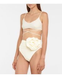 Magda Butrym Appliquéd High-rise Bikini Bottoms - White