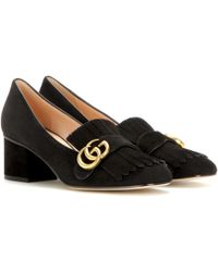 Gucci - Suede Loafer Pumps - Lyst