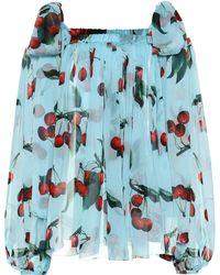 Dolce & Gabbana Exklusiv bei Mytheresa – Bluse aus Seiden-Chiffon - Blau