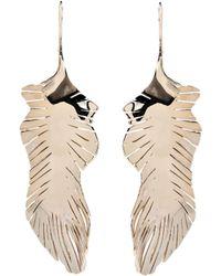 Valentino Feather Drop Earrings - Metallic