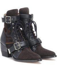 Chloé Ankle Boots Rylee aus Veloursleder - Braun