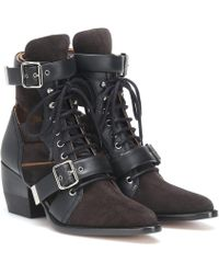 Chloé Rylee Suede Ankle Boots - Black