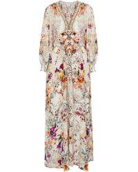 Camilla Embellished Printed Silk Maxi Dress - Multicolor