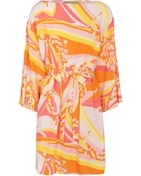 Emilio Pucci Printed Boatneck Minidress - Orange