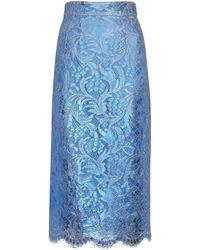 Dolce & Gabbana Midirock aus Spitze - Blau
