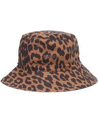 Ganni Cappello da pescatore a stampa in cotone - Marrone
