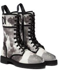 Fendi Ankle Boots Signature aus Canvas - Schwarz