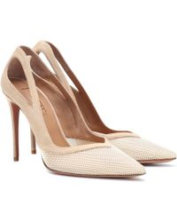 Aquazzura Shiva Mesh Court Shoes - Natural