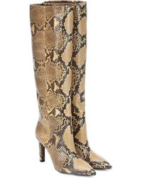 Saint Laurent Kate 85 Python-leather Knee-high Boots - Natural