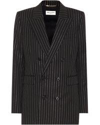 Saint Laurent Striped Wool Blazer - Black