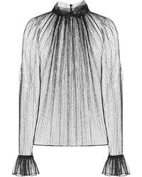 Saint Laurent Blusa in tulle di seta - Nero