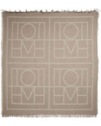 Totême Logo Wool And Cashmere Scarf - Brown