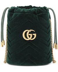 Gucci Secchiello GG Marmont Mini in velluto - Verde