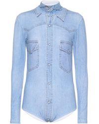 Vetements Printed Cotton-blend Bodysuit - Blue