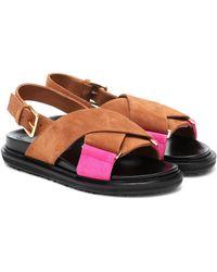Marni Fussbett Suede Sandals - Brown