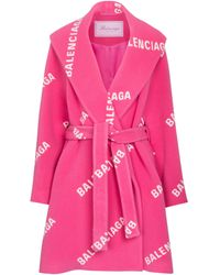 Balenciaga Mantel mit Kaschmiranteil - Pink