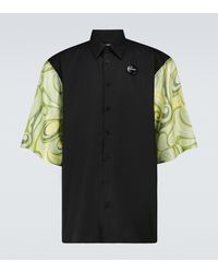 Raf Simons Camisa estampada de manga corta - Negro