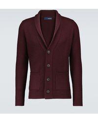 Lardini Cárdigan de lana con cuello chal - Rojo