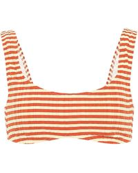 Solid & Striped Gestreiftes Bikini-Oberteil Elle - Orange