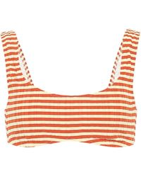 Solid & Striped Gestreiftes Bikini-Oberteil Elle - Orange