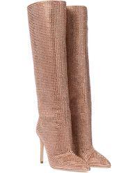 Paris Texas Verzierte Stiefel Holly aus Veloursleder - Mehrfarbig