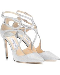 Jimmy Choo Lancer 100 Glitter Court Shoes - Metallic