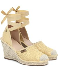 Fendi Roma Wedge Espadrilles - Natural