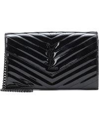 Saint Laurent Envelope Small Patent Leather Clutch - Black