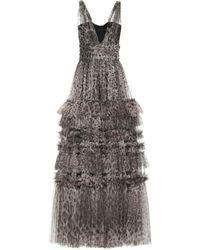 Dolce & Gabbana Abito lungo a stampa leopardo in tulle - Multicolore
