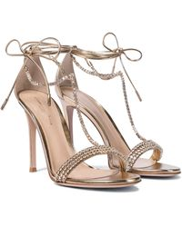 Gianvito Rossi Embellished Metallic Leather Sandals - Multicolor