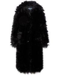 Prada Mantel aus Faux Fur - Schwarz