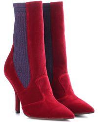Fendi Stiefel aus Samt - Rot
