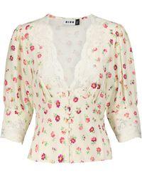 RIXO London Blusa Amanda floral con encaje - Blanco