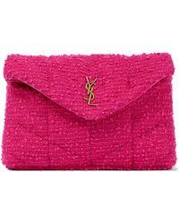 Saint Laurent Clutch Loulou Puffer aus Tweed - Pink