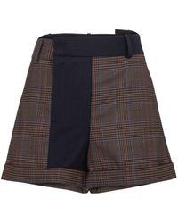 Monse Karierte Shorts aus Wolle - Braun