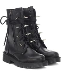 Vetements Studded Leather Ankle Boots - Black