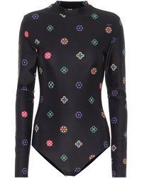 Kirin Printed Stretch-jersey Bodysuit - Black