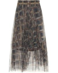 Brunello Cucinelli Printed Tulle Midi Skirt - Brown