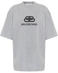 Balenciaga Bedrucktes T-Shirt aus Baumwolle - Grau