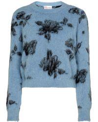 RED Valentino Pull en mohair et laine mélangés à fleurs - Bleu