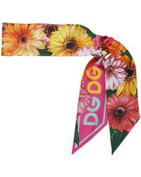 Dolce & Gabbana Floral Silk Faille Scarf - Pink