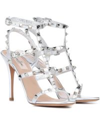 Valentino Rockstud Leather Sandals - Metallic
