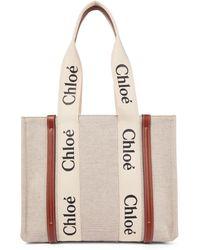 Chloé Shopper Woody Medium in canvas - Bianco
